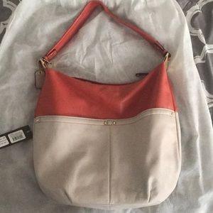 Handbag papaya with beige
